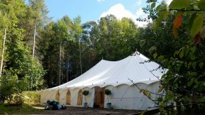 The marquee at the woodland retreat